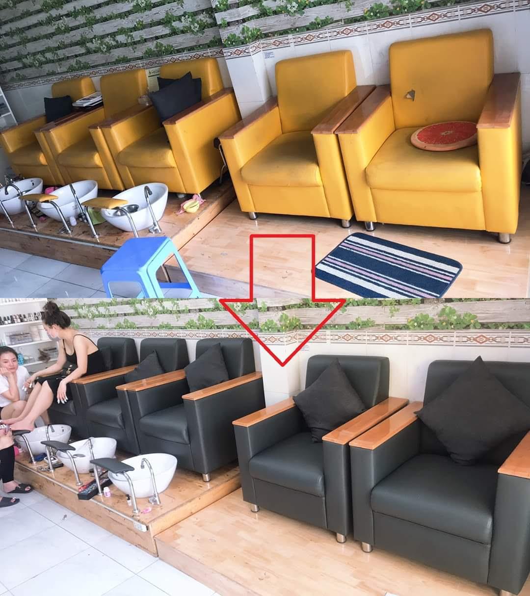 Bọc lại ghế sofa cho tiệm nail Chị Thu tại đường Thống nhất, Quận Gò Vấp